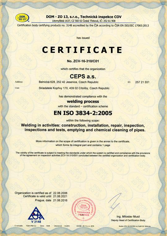 ISO 3834-2:2005 Welding process certificate — CEPS a.s.