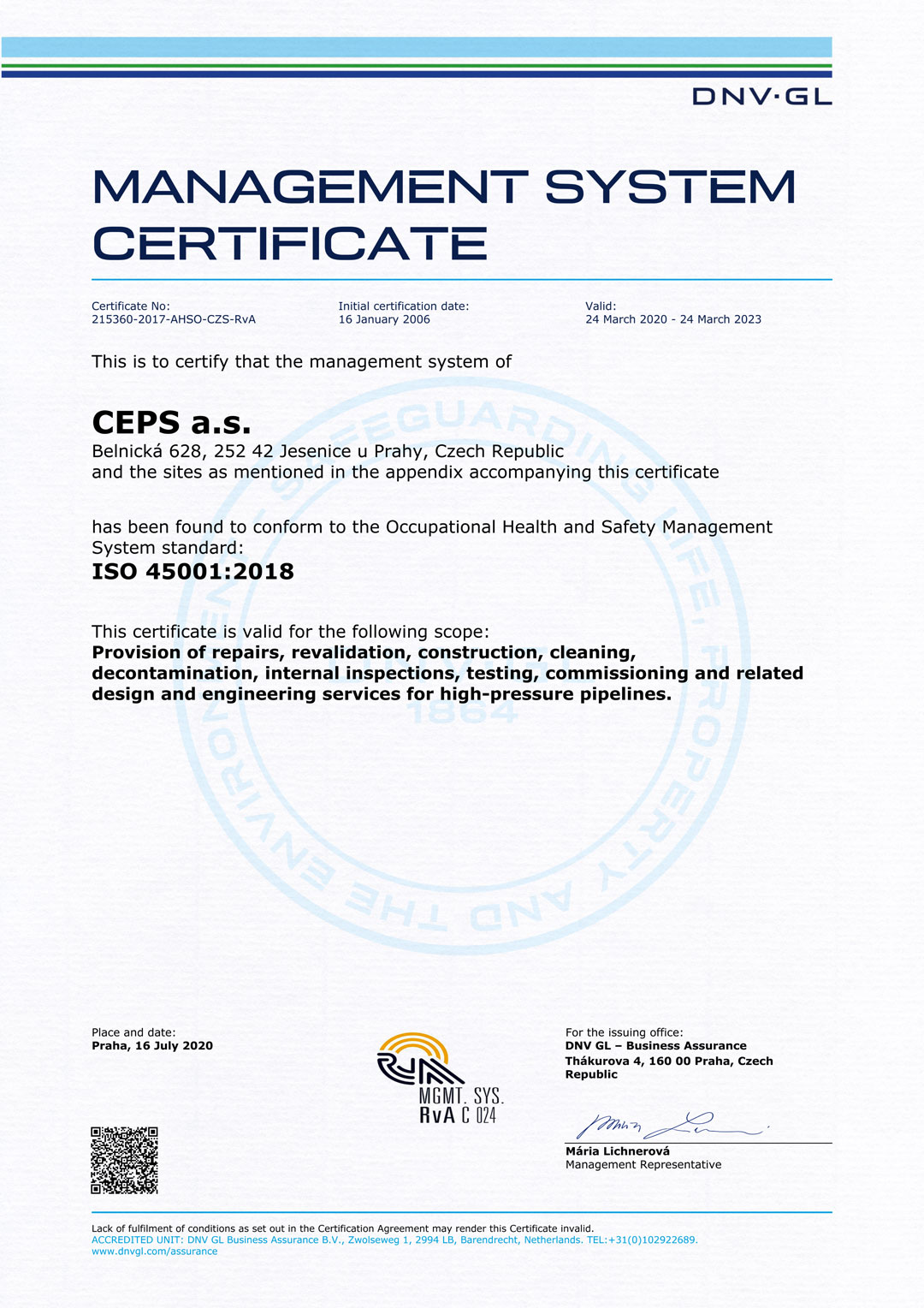 iso certificate management safety dnv ceps ahso czs rva occupational verify gl