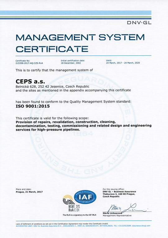 Iso 90012015 Quality Management System Certificate Ceps As