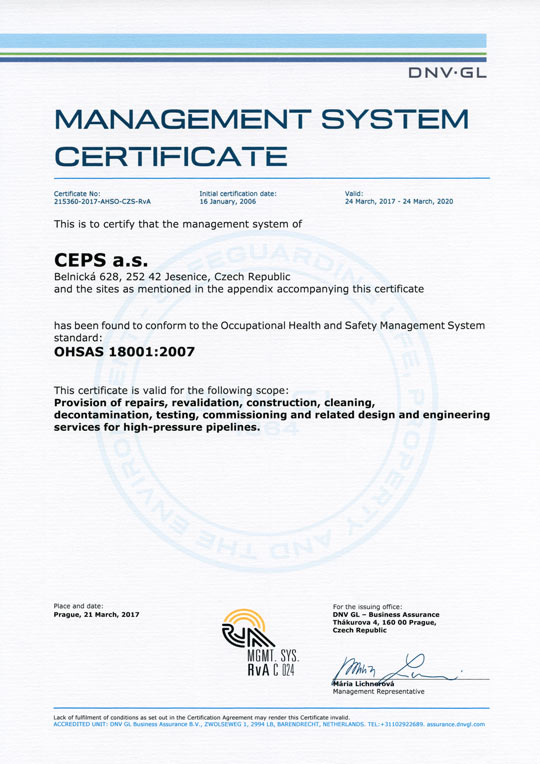 OHSAS 18001:2007 Occupational health and safety management system