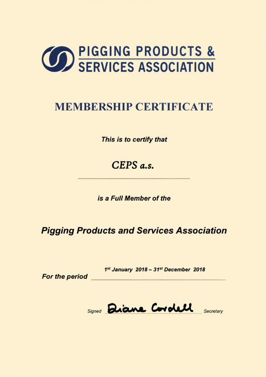 Pigging Products And Services Association Membership Certificate