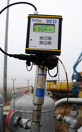 Measurement and record of pressure at the beginning of the measured section