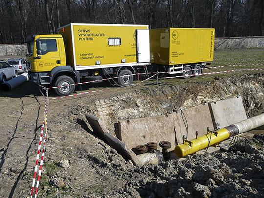 Tlaková reparace – ověřování integrity potrubí DN500 DP63 vybudovaného vroce1973